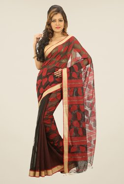Bengal Handloom Black & Red Chora Pata Cotton Silk Saree