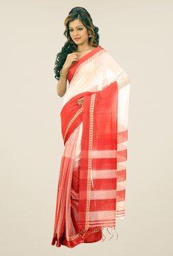 Bengal Handloom White & Red Hawai Mithai Silk Saree