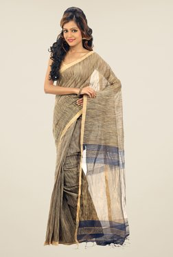 Bengal Handloom Beige Zori & Ketia Silk Saree