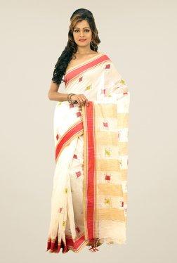Bengal Handloom Off-white Printed Net Saree