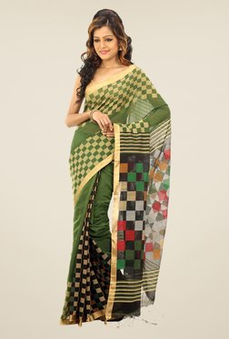 Bengal Handloom Green Checked Cotton Silk Saree