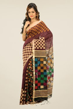 Bengal Handloom Maroon Checked Cotton Silk Saree