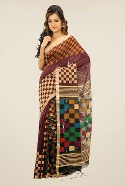Bengal Handloom Maroon Checked Cotton Silk Saree
