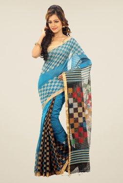 Bengal Handloom Sky Blue Checked Cotton Silk Saree