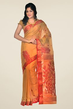 Bengal Handloom Mustard Velvet Tussar Silk Jamdani Saree