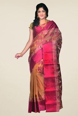 Bengal Handloom Beige & Pink Velvet Silk Jamdani Saree