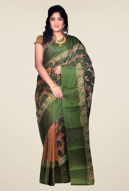 Bengal Handloom Beige & Green Velvet Silk Jamdani Saree