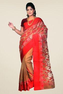Bengal Handloom Beige & Red Velvet Tussar Silk Jamdani Saree