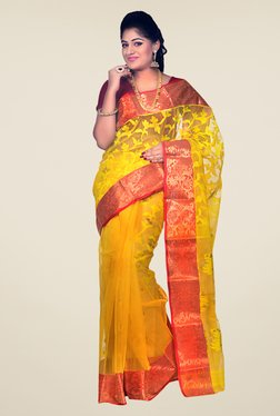 Bengal Handloom Yellow & Red Cotton Silk Jamdani Saree
