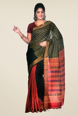 Bengal Handloom Black & Red Cotton Silk Printed Saree