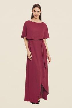Femella Maroon Front Slit Dress