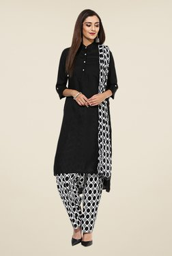 Stylenmart Black and White Printed Patiala & Dupatta Set