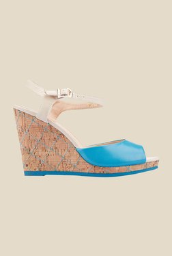 Tresmode Spedro Blue & Beige Ankle Strap Wedges