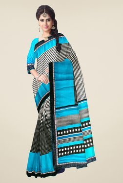 Triveni Blue & Grey Checks Satin & Chiffon Saree