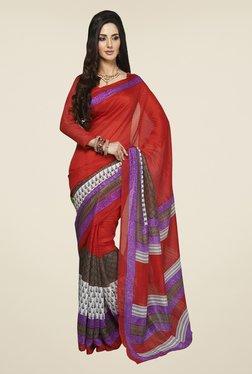 Triveni Maroon Printed Art Silk Saree