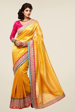 Triveni Yellow Embroidered Manipuri Silk Saree