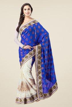 Triveni Off White & Blue Embroidered Banarasi Silk Saree