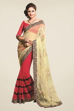 Triveni Red & Beige Embroidered Faux Georgette Saree