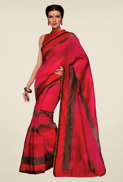 Triveni Magenta Printed Jute Silk Saree