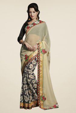 Triveni Black & Beige Floral Print Chiffon Saree