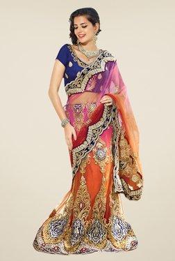Triveni Orange & Blue Embroidered Net Lehenga Saree