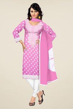 Triveni Pink & White Polka Dot Dress Material