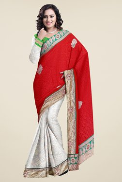 Triveni Red & Off White Embroidered Art Silk Jacquard Saree