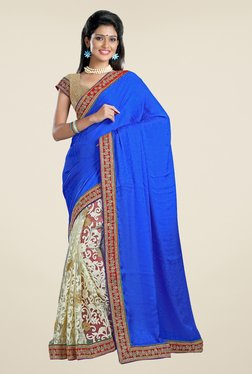 Triveni Beige & Blue Embroidered Crepe Jacquard Saree
