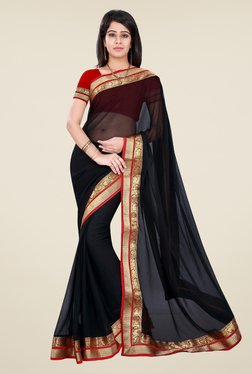 Triveni Black Solid Chiffon Saree