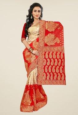 Triveni Beige & Red Paisley Print Banarasi Silk Saree