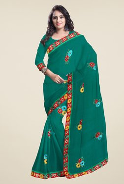 Triveni Sea Green Embroidered Faux Georgette Saree
