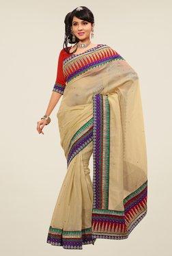 Triveni Beige Embroidered Cotton & Silk Saree