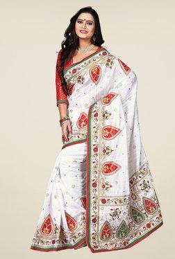 Triveni Off White Embroidered Bhagalpuri Silk Saree