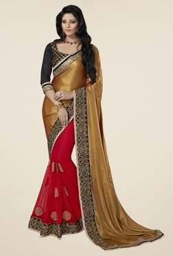 Triveni Red & Gold Embroidered Faux Georgette Satin Saree