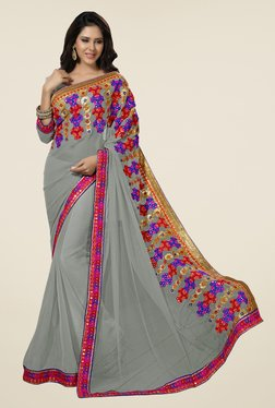 Triveni Grey Embroidered Chiffon Saree