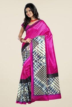 Triveni Magenta Printed Art Silk Saree - Mp000000000407547
