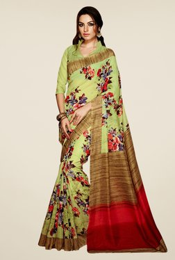 Triveni Green Floral Print Art Silk Saree