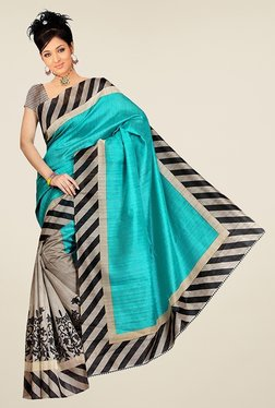 Triveni Grey & Turquoise Printed Art Silk Saree