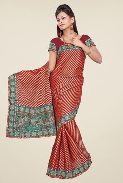 Triveni Brown Striped Art Silk Saree
