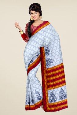 Triveni Off White Printed Art Silk Saree