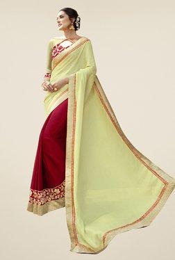 Triveni Maroon & Yellow Embroidered Chiffon Saree