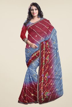 Triveni Grey & Maroon Embroidered Net Saree