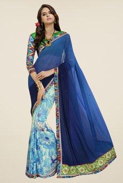 Triveni Sky Blue & Navy Floral Print Faux Georgette Saree