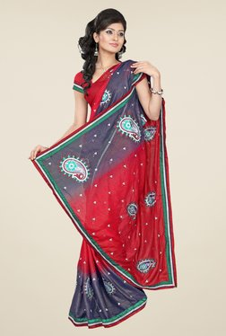 Triveni Red & Grey Embroidered Faux Georgette Saree