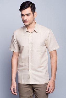 Fabindia Beige Solid Half Sleeve Shirt