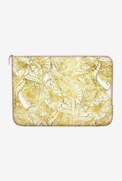 """DailyObjects Gold Floral MacBook 12"""" Zippered Sleeve"""