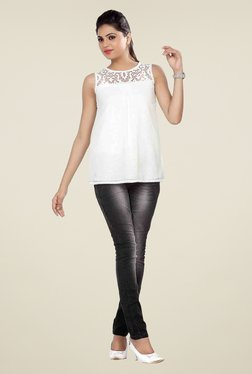 Soie White Lace Sleeveless Regular Fit Top