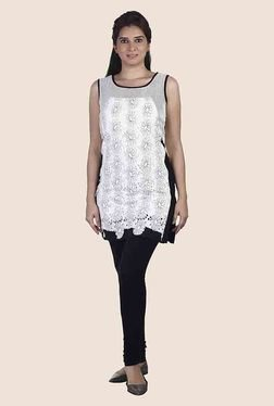 Soie Off White Floral Print Sleeveless Tunic