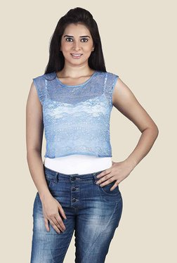 Soie Blue Lace Sleeveless Top