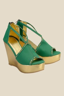 Nell Green Wedge Heeled Sandals